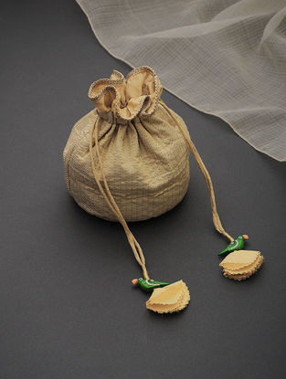 Golden Brocade-Croma Silk Potli with Tassels and Hand-Painted Wooden Beads
