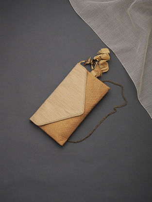 Copper Brocade Silk Clutch with Tassels