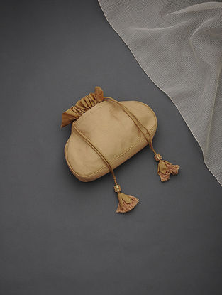 Golden Brocade Silk Potli with Tassels and Hand-Painted Wooden Beads
