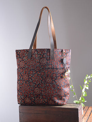 Black Hand Block-Printed Mashru Silk Tote with Tassels and Hand-Painted Wooden Beads