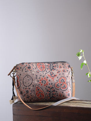 Black-White Hand Block-Printed Mashru Silk Sling Bag with Tassels and Hand-Painted Wooden Beads