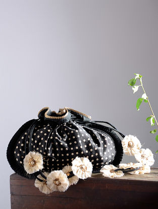 Black-White Hand Block-Printed Mashru Silk Potli with Handmade Floral Drawstring