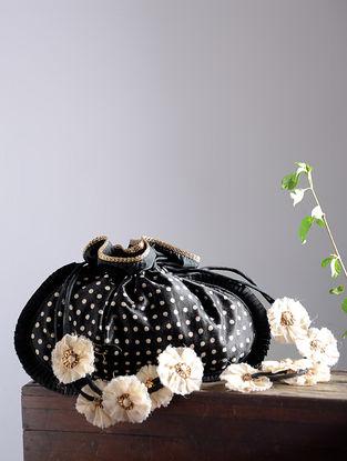 Black-White Hand Block-Printed Mashru Silk Potli with Handmade Floral Drawstring