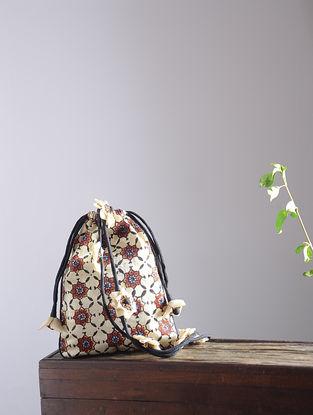 Cream-Maroon Hand Block-Printed Mashru Silk Potli Sling with Handmade Floral Drawstring