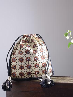 Cream-Maroon Hand Block-Printed Mashru Silk Mobile Pouch with Handmade Floral Drawstring