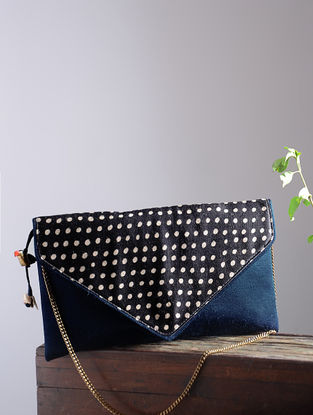 Blue-Black Hand Block-Printed Mashru Silk Clutch with Tassels and Hand-Painted Wooden Beads