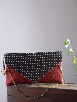 Maroon-Black Hand Block-Printed Mashru Silk Clutch with Tassels and Hand-Painted Wooden Beads