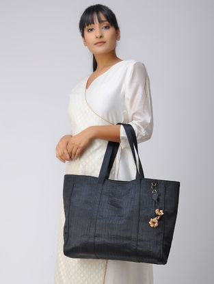 Black Quilted Mashru and Chroma Silk Tote with Hand-Painted Wooden Beads