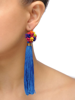 Blue-Multicolored Handmade Chroma Silk and Cord Earrings