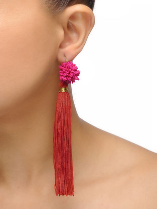 Red-Pink Handmade Chroma Silk and Cord Earrings