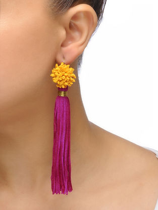 Pink-Yellow Handmade Chroma Silk and Cord Earrings
