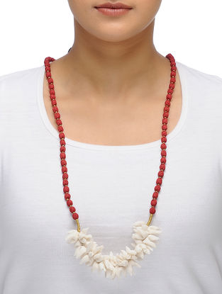 Off-White Handmade Chroma Silk Gajra Mala with Wooden Beads