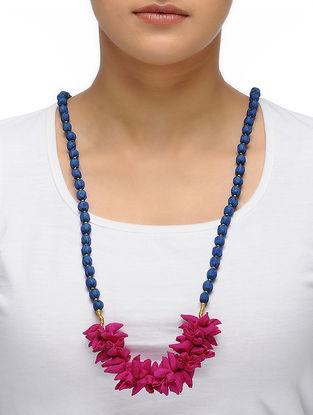 Pink-Blue Handmade Chroma Silk Gajra Mala with Wooden Beads
