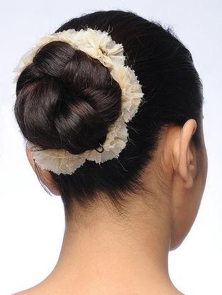 Beige Handmade Croma Silk Floral Gajra