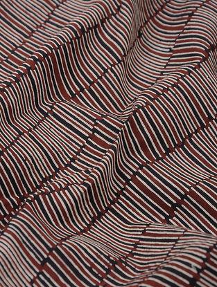 Maroon-Black Printed Cotton Khadi Fabric