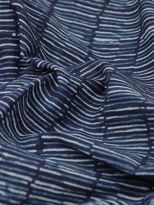 Blue-White Printed Cotton Khadi Fabric
