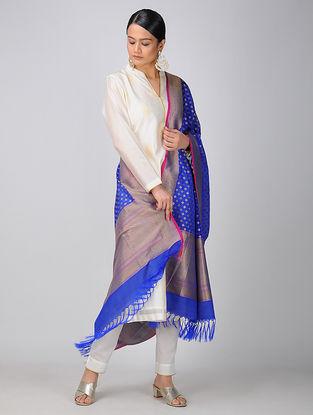 Blue Benarasi Silk Georgette Cutwork Dupatta