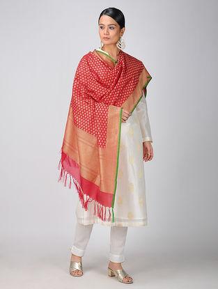 Red Benarasi Silk Georgette Cutwork Dupatta