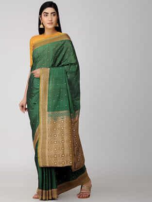 Green-Beige Katan Silk Cut-work Saree