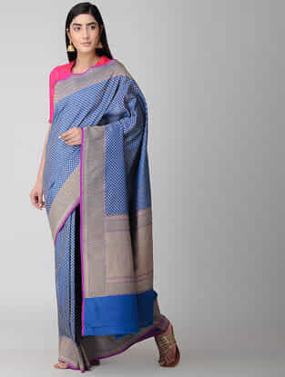 Blue Silk Georgette Cut-work Saree