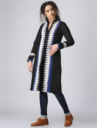 Black-Blue Paneled Ikat Cotton Quilted Jacket with Pockets