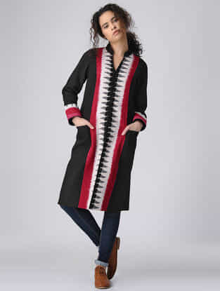 Black-Red Paneled Ikat Cotton Quilted Jacket with Pockets