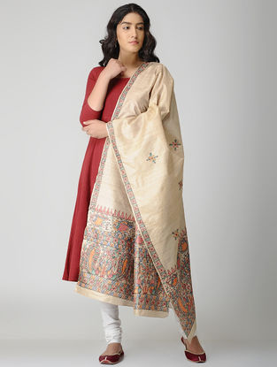 Beige-Multicolored Madhubani Hand-painted Tussar Silk Dupatta