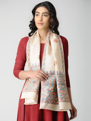 Beige-Multicolored Madhubani Hand-painted Tussar-Muga Silk Stole