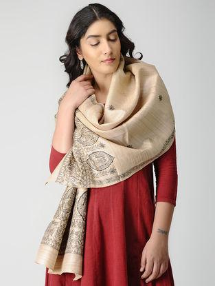 Beige-Black Madhubani Hand-painted Tussar Silk Stole