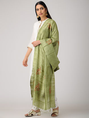 Green-Orange Sozni-embroidered Tussar Silk Dupatta