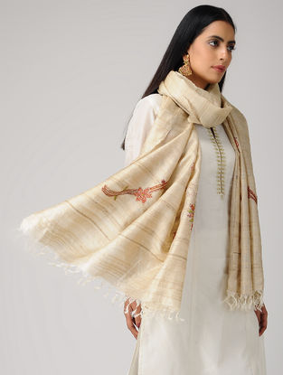 Beige-Orange Sozni-embroidered Tussar Silk Dupatta