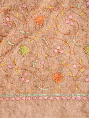 Brown-Orange Sozni-embroidered Tussar Silk Dupatta