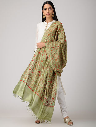 Green-Red Sozni-embroidered Tussar Silk Dupatta