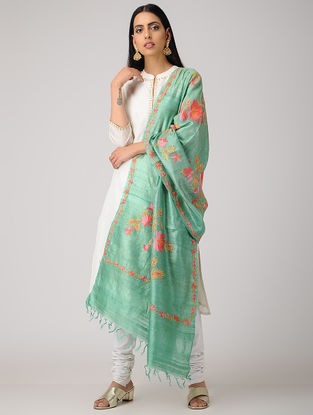 Sea Green-Pink Aari-embroidered Tussar Silk Dupatta