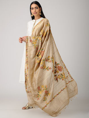 Beige-Yellow Aari-embroidered Tussar Silk Dupatta