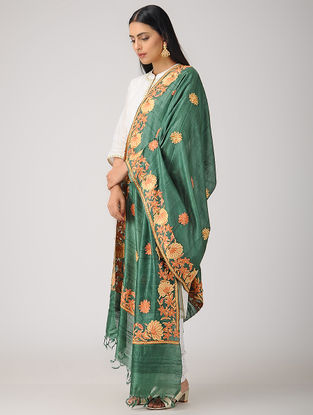 Green-Yellow Aari-embroidered Tussar Silk Dupatta