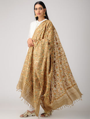 Beige-Orange Aari-embroidered Tussar Silk Dupatta