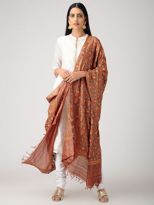 Brown-Orange Aari-embroidered Tussar Silk Dupatta