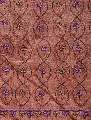 Brown-Purple Sozni-embroidered Tussar Silk Dupatta