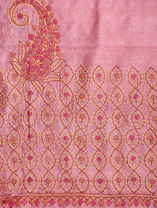 Pink-Yellow Sozni-embroidered Tussar Silk Dupatta