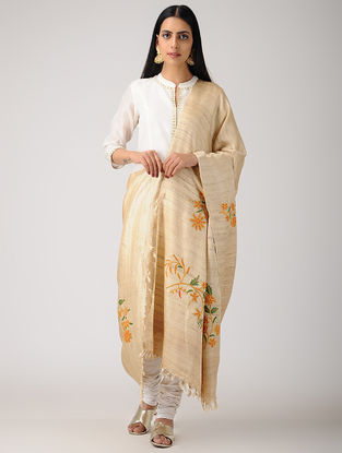 Beige-Orange Aari-embroidered Banana Ghicha Silk Dupatta