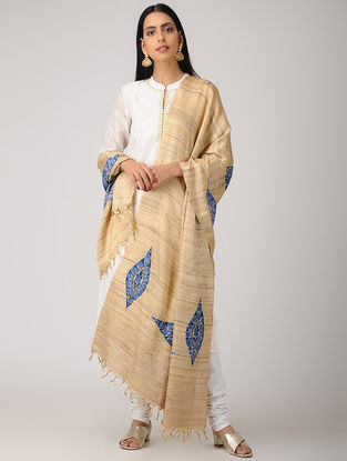 Beige-Blue Aari-embroidered Banana Ghicha Silk Dupatta