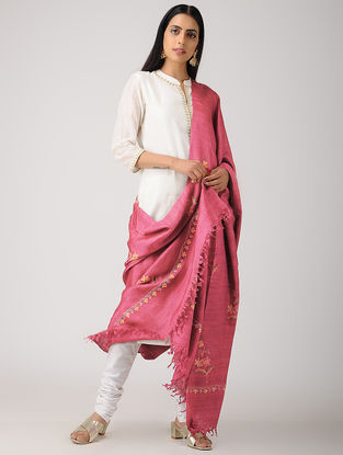 Pink-Yellow Aari-embroidered Banana Ghicha Silk Dupatta