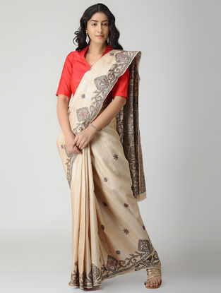 Beige-Red Madhubani Hand-painted Tussar Silk Saree