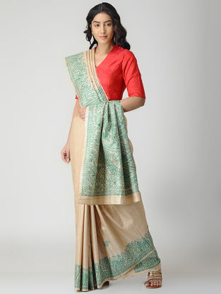 Beige-Green Madhubani Hand-painted Tussar Silk Saree