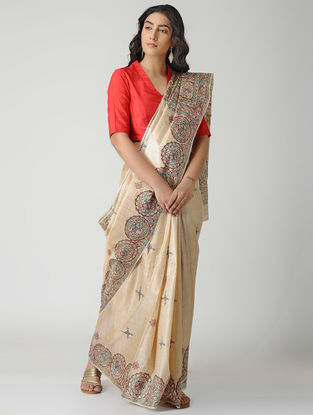 Beige-Multicolored Madhubani Hand-painted Tussar Silk Saree