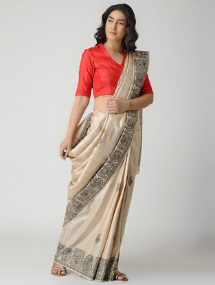 Beige-Black Madhubani Hand-painted Tussar Silk Saree