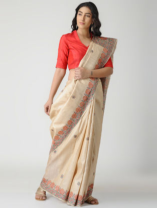 Beige-Orange Madhubani Hand-painted Tussar Silk Saree