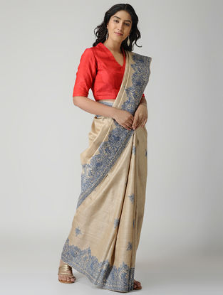 Beige-Blue Madhubani Hand-painted Tussar Silk Saree
