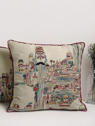 Embroidered Kashi Cushion Cover 23.5in x 23.5in